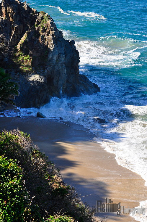 View looking down from cliffs above San Pancho, Mexico