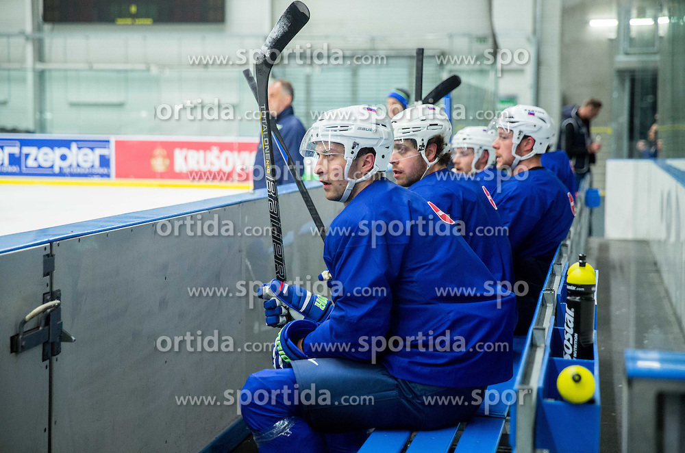 Sabahudin Kovacevic of Slovenia, Anze Kopitar of Slovenia during practice session of Slovenian National Ice Hockey Team 1 day prior to the 2015 IIHF World Championship in Czech Republic, on April 30, 2015 in Practice arena Ostrava, Czech Republic. Photo by Vid Ponikvar / Sportida