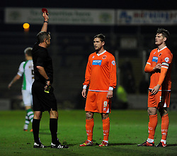 Blackpool's Gary MacKenzie receives a red card. - Photo mandatory by-line: Dougie Allward/JMP - Tel: Mobile: 07966 386802 03/12/2013 - SPORT - Football - Yeovil - Huish Park - Yeovil Town v Blackpool - Sky Bet Championship