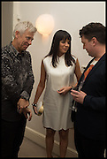 adam clayton; mariana clayton; joe scotland, Frieze dinner  hosted at by Valeria Napoleone for  Marvin Gaye Chetwynd, Anne Collier and Studio Voltaire 20th anniversary autumn programme. Kensington. London. 14 October 2014.