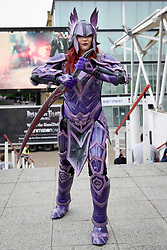 © Licensed to London News Pictures. 28/05/2017. London, UK.  A girl dressed as a character from Elder Scrolls at MCM Comic Con taking place at Excel in East London.  The three day event celebrates popular comic books, anime, games, television and movies.  Many attendees take the opportunity to dress as their favourite characters.    Photo credit : Stephen Chung/LNP