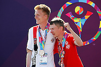 1 August 2015: Special Olympic World Games Los Angeles Sailing Finals in Long Beach, California.  Team Russia gets silver medals Andrei Akimenko and Sergey Panin on the podium.