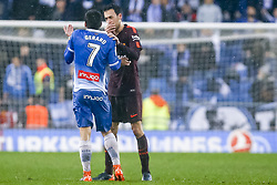February 4, 2018 - Barcelona, Catalonia, Spain - FC Barcelona midfielder Sergio Busquets (5) try to calm RCD Espanyol forward Gerard Moreno (7) during the match between RCD Espanyol vs FC Barcelona, for the round 22 of the Liga Santander, played at Cornella -El Prat Stadium on 4th February 2018 in Barcelona, Spain. (Credit Image: © Urbanandsport/NurPhoto via ZUMA Press)