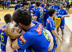 Ziga Mlakar of Celje PL and Mate Lekai of Celje PL  celebrate after winning during handball match between RK Gorenje Velenje and RK Celje Pivovarna Lasko in Final match of 1st NLB League - Slovenian Championship 2013/14 on May 23, 2014 in Rdeca dvorana, Velenje, Slovenia. RK Celje Pivovarna Lasko became 18-times Slovenian National Champion. Photo by Vid Ponikvar / Sportida
