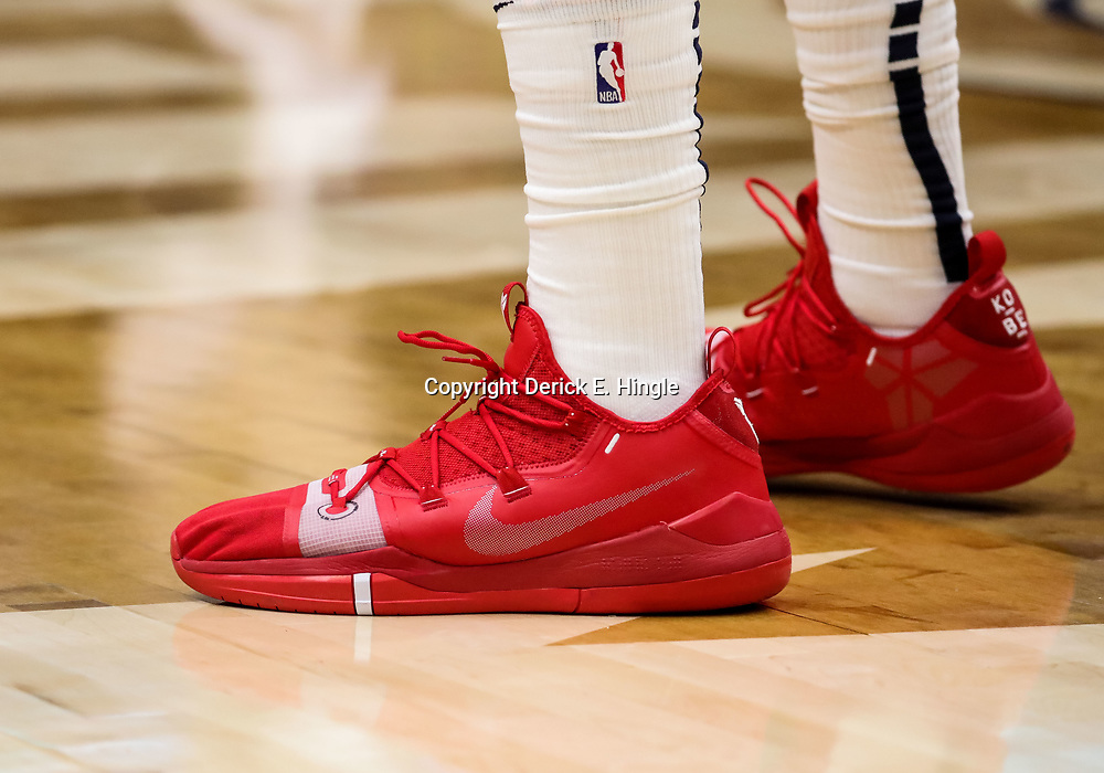 Oct 23, 2018; New Orleans, LA, USA; A detail of shoes worn by  New Orleans Pelicans forward Anthony Davis during the second quarter against the Los Angeles Clippers at the Smoothie King Center. Mandatory Credit: Derick E. Hingle-USA TODAY Sports