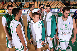 Players of Lasko after second match of EuroCup  EuroChallenge between KK Zlatorog, Lasko and BC Amak S.P., Ohrid, Macedonia, on October 21, 2008, in Arena Tri Lilije in Lasko. Match was won by Amak 78:69 and Amak progress in next round. (Photo by Vid Ponikvar / Sportal Images)
