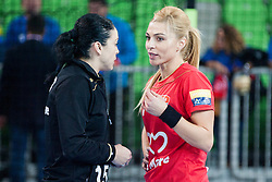 Valentina Ardean Elisei and Ana Maria Tanasie of HCM Baia Mare during handball match between RK Krim Mercator (SLO) and HCM Baia Mare (ROM) in 1st Round of Women's EHF Champions League 2015/16, on October 16, 2015 in Arena Stozice, Ljubljana, Slovenia. Photo by Urban Urbanc / Sportida