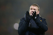 Grant McCann Manager / Head Coach of Hull City applauds fans after the EFL Sky Bet Championship match between Barnsley and Hull City at Oakwell, Barnsley, England on 30 November 2019.