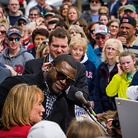 "David Ortiz ""Big Papi"" from the Red Sox at the State House in Concord NH for the release of the new Red Sox lottery ticket.  With Governor Maggie Hassan and Wally"
