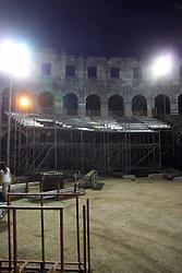 28.08.2012, Amphitheater, Pula, CRO, EBEL, Arena Ice Fever MMXII, im Bild Aufbauarbeiten zum Arena Ice Fever -Pula MMXII. Die Slowenische Mannschaft Telemach Olimpija und die Oesterreichische Mannschaft UPC Vienna Capitals werden am 14. und 16. September 2012 Gaeste der EBEL Mannschaft Medvescak Zagreb an den diesem historischen Eishockeyspektakel das zum ersten Mal in einem Amphitheater stattfindet, sein. Zweitausend Jahre nachdem dieses von den Roemern erbaut wurde, waeren diese stolz - die Gladiatoren des modernen Zeitalters und des Eises kaempfen zu sehen // Preparation for ice hockey spectacle Arena Ice Fever MMXII. In mid-September the amphitheater of Pula will be the venue for a spectacular event: the most beautiful open-air stage hosts Arena Ice Fever - Pula MMXII, two hockey games with Medvescak Zagreb.On September 14 and 16, Slovenian Telemach Olimpija and Austrian UPC Vienna Capitals will play against the Bears in the historical hockey games which for the first time will be held in an amphitheater. Having been built two thousand years ago, the Romans would be proud to see these modern-day gladiators on ice fighting in the Arena of Pula, Amphitheater, Pula, Croatia on 2012/08/28. EXPA Pictures © 2012, PhotoCredit:  EXPA/ Pixsell/ Dusko Marusic **** ATTENTION - OUT OF CRO, SRB, MAZ, BIH and POL *****