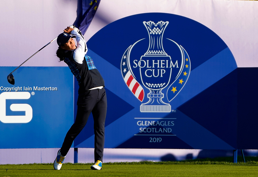 Solheim Cup 2019 at Centenary Course at Gleneagles in Scotland, UK. Celine Boutier of Europe tees off on 1st hole on final day.