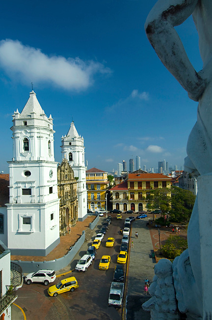The Metropolitan Cathedral and the Cathedral Plaza in Casco Viejo, the neighborhood in Panama City that UNESCO declared a World Heritage Site in 2003 because of its abundance of colonial architecture.