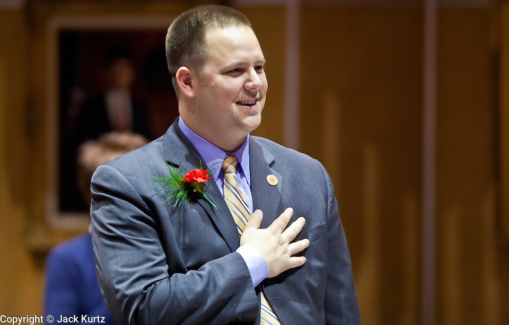09 JANUARY 2012 - PHOENIX, AZ:  Democratic State Sen David Schapira, Tempe, at the state legislature Monday. Gov Brewer delivered her State of the State inside while outside representatives of interest groups picketed and protested.     The Arizona legislature started its 2012 session and Gov. Jan Brewer delivered her State of the State Monday, Jan 9.                   PHOTO BY JACK KURTZ