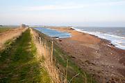 Shingle bay bar  being eroded and lagoon North Sea coast, Hollesley Bay, Bawdsey, Suffolk, England, UK