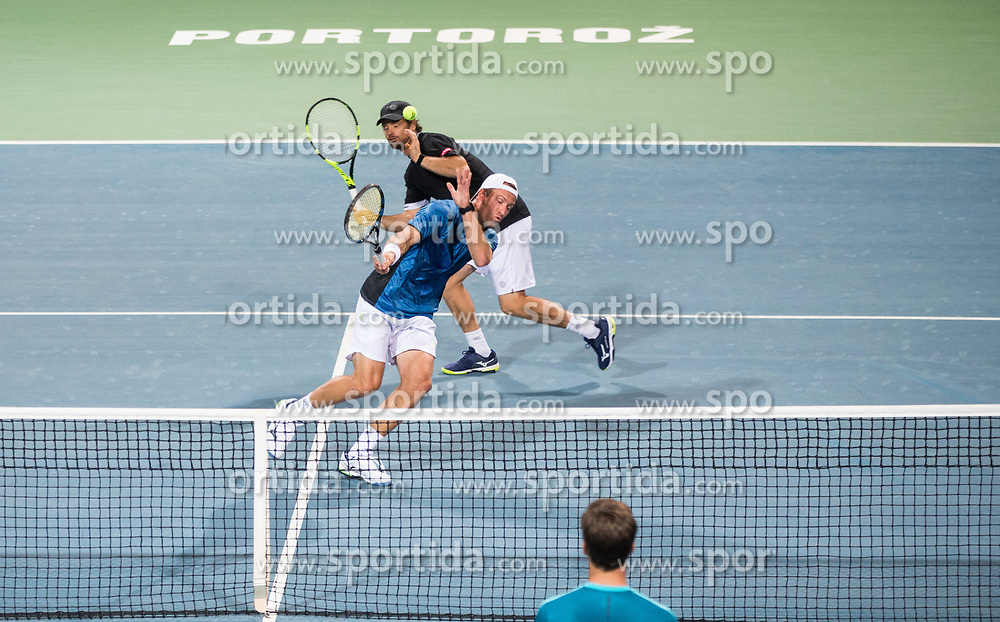 Blaz Kavcic and Grega Zemlja during exhibition match and Grega Zemlja's official retirement at Tennis tournament  ATP Challenger Zavarovalnica Sava Slovenia Open 2017, on August 11, 2017 in Sports centre, Portoroz/Portorose, Slovenia. Photo by Vid Ponikvar / Sportida