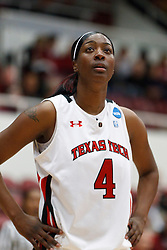 March 19, 2011; Stanford, CA, USA; Texas Tech Lady Raiders forward/center Teena Wickett (4) before a free throw against the St. John's Red Storm during the first half of the first round of the 2011 NCAA women's basketball tournament at Maples Pavilion. St. John's defeated Texas Tech 55-50.
