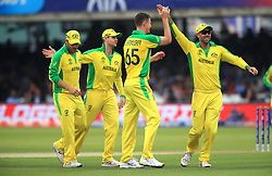 Australia's Jason Behrendorff (centre) celebrates the wicket of England's Jonny Bairstow of during the ICC Cricket World Cup group stage match at Lord's, London.