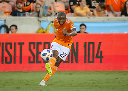July 18, 2018 - Houston, TX, U.S. - HOUSTON, TX - JULY 18:  Houston Dynamo midfielder Oscar Garcia (27) sends the ball across the pitch during the US Open Cup Quarterfinal soccer match between Sporting KC and Houston Dynamo on July 18, 2018 at BBVA Compass Stadium in Houston, Texas. (Photo by Leslie Plaza Johnson/Icon Sportswire) (Credit Image: © Leslie Plaza Johnson/Icon SMI via ZUMA Press)