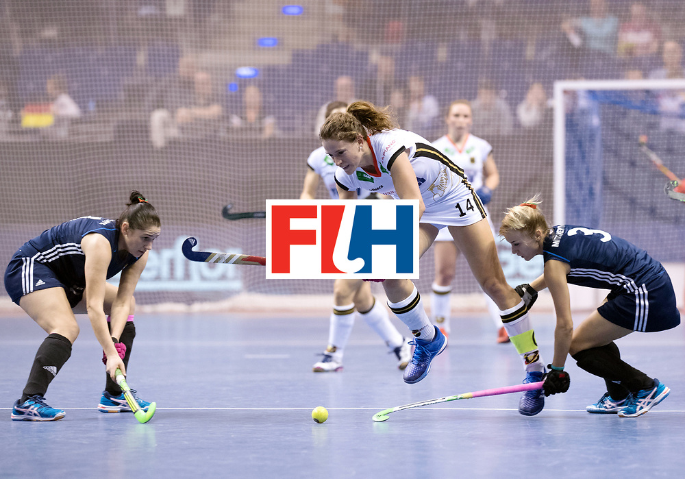 BERLIN - Indoor Hockey World Cup<br /> SF2 Belarus - Germany<br /> foto: Yuliya Mikheichyk and Janne M&uuml;ller <br /> WORLDSPORTPICS COPYRIGHT FRANK UIJLENBROEK