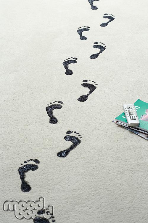 Black footprints on carpet