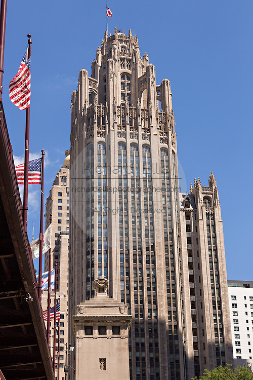Tribune Tower and DuSable Bridge on a summers day in Chicago, Illinois, USA