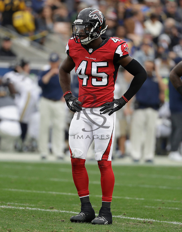 Atlanta Falcons middle linebacker Deion Jones (45) during the first half of an NFL football game against the Los Angeles Rams, Sunday, Dec. 11, 2016, in Los Angeles. (AP Photo/Rick Scuteri)