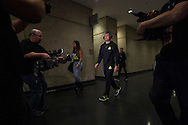 DALLAS, TX - MARCH 13:  UFC lightweight champion Anthony Pettis prepares to weigh-in during the UFC 185 weigh-ins at the Kay Bailey Hutchison Convention Center on March 13, 2015 in Dallas, Texas. (Photo by Cooper Neill/Zuffa LLC/Zuffa LLC via Getty Images) *** Local Caption *** Anthony Pettis