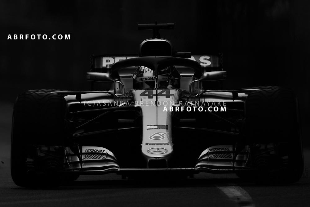 Mercedes driver Lewis Hamilton of Britain on Saturday during free practice 3 of the 2018 Rolex Formula 1 Australian Grand Prix at Albert Park, Melbourne, Australia, March 24, 2018.  Asanka Brendon Ratnayake