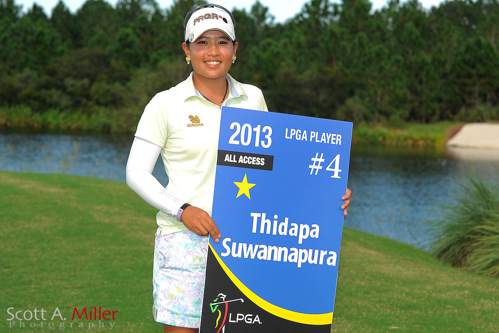 Thidapa Suwannapura with her card following the final round of the Daytona Beach Invitational  at LPGA International on Sep 30, 2012 in Daytona Beach, Florida...©2012 Scott A. Miller