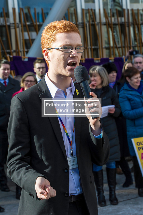 Pictured: Ross Greer, Scottish Green Party<br /> University pensions row rally was held outside the Scottish Parliament in Edinburgh today. University staff were joined by politicians and students as part of the strike action event. <br /> <br /> Ger Harley   EEm 8 March 2018