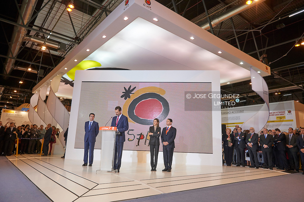 King Felipe VI of Spain and Queen Letizia of Spain attended the Opening of Internacional Tourism Fair (FITUR) at Feria de Madrid on January 28, 2015 in Madrid