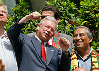 Photo: Glyn Thomas.<br />Portugal v Iran. Group D, FIFA World Cup 2006. 17/06/2006.<br /> Roland Koch (L), the Ministerpraesident of Hessen, watches the match in Frankfurt between Portugal and Iran.