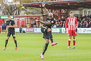 York City forward Emile Sinclair with a shot during the The FA Cup match between Accrington Stanley and York City at the Fraser Eagle Stadium, Accrington, England on 7 November 2015. Photo by Simon Davies.