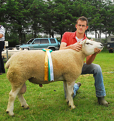 Victor Barber from Grange Co Sligo with his Texas Ram which won best Sheep at Tourmakeady Show...Pic Conor McKeown