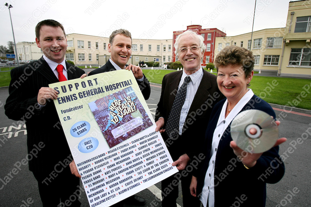 A new CD in aid of the Ennis General Hospital Development Committee's Fund to defend the Hospital will be launched at the Templegate Hotel on Monday night next November 13th , from left are Cllr Joe Carey,Cllr Brian Meaney.PRO,Peadar McNamara ,Chairman and Staff Nurse Mairead McNamara.<br />