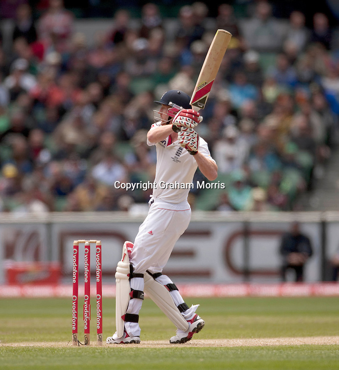 Paul Collingwood plays his last shot as he's caught on the boundary during the fourth Ashes test match between Australia and England at the MCG in Melbourne, Australia. Photo: Graham Morris (Tel: +44(0)20 8969 4192 Email: sales@cricketpix.com) 27/12/10