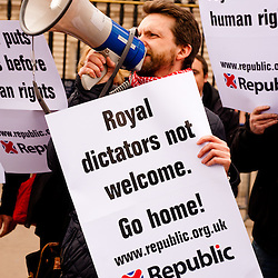 LONDON, UK - 18th May 2012: Republicans protesters in front of Buckingham Palace denouncing the presence of the King of Bahrain and other country leaders in visit at Buckingham Palace for the Queen's Jubilee.