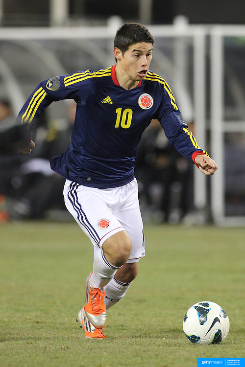 James Rodriguez, Colombia, in action during the Brazil V Colombia International friendly football match at MetLife Stadium, New Jersey. USA. 14th November 2012. Photo Tim Clayton