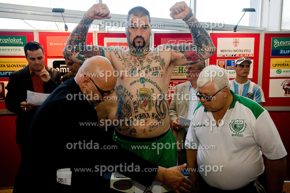 Gonzalo Omar Basile of Argentina at official weighing before box fighting, on April 8, 2010, in Avto Delta, Ljubljana, Slovenia.  (Photo by Vid Ponikvar / Sportida)