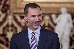 11.05.2015, Royal Palace, Madrid, ESP, Treffen zwischen Spaniens König Felipe VI und Italiens Präsident Mattarella, im Bild King Felipe VI of Spain during a meeting with President of the Italian Republic, Sergio Mattarella // during a meeting at the Royal Palace in Madrid, Spain on 2015/05/11. EXPA Pictures © 2015, PhotoCredit: EXPA/ Alterphotos/ Victor Blanco<br /> <br /> *****ATTENTION - OUT of ESP, SUI*****