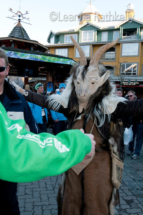 A fan of Christof Innerhofer dresses in a goat costume to show support during the 2010 Olympic Winter Games in Whistler, BC Canada