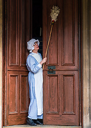 Edinburgh, Scotland, United Kingdom . 27th February, 2018. Volunteers wearing Edwardian costumes prepare to give Lauriston Castle in Edinburgh a Spring clean in preparation for the public opening later in the year. Pictured Hilary Lovie