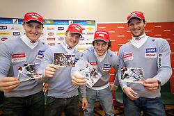 Andrej Sporn, Andrej Krizaj, Rok Perko and Andrej Jerman at press conference of Men Alpine Ski team and sponsor Petrol, on December 8, 2010 in Petrol, Ljubljana, Slovenia. (Photo By Vid Ponikvar / Sportida.com)