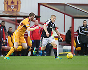 Dundee's Henrik Ojamaa and Motherwell's Stephen Pearson - Motherwell v Dundee in the Ladbrokes Scottish Premiership at Fir Park, Motherwell.Photo: David Young<br /> <br />  - © David Young - www.davidyoungphoto.co.uk - email: davidyoungphoto@gmail.com