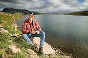 Fisherman, Lake St. Clair, near Singleton, Hunter Valley, NSW, Australia