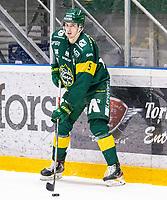 2019-10-15 | Umeå, Sweden: Björklöven (5) Hardy Häman Aktell in HockeyAllsvenskan during the game  between Björklöven and Västervik at A3 Arena ( Photo by: Michael Lundström | Swe Press Photo )<br /> <br /> Keywords: Umeå, Hockey, HockeyAllsvenskan, A3 Arena, Björklöven, Västervik, mlbv191015