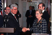 Secretary of State Madeleine Albright with Israeli Foreign Minister David Levy following their meeting at the State Department in Washington, DC.