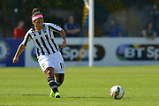 Notts County Ladies midfielder Desiree Scott passes the ball during the FA Women's Super League match between Chelsea Ladies FC and Notts County Ladies FC at Staines Town FC, Staines, United Kingdom on 6 September 2015. Photo by Mark Davies.