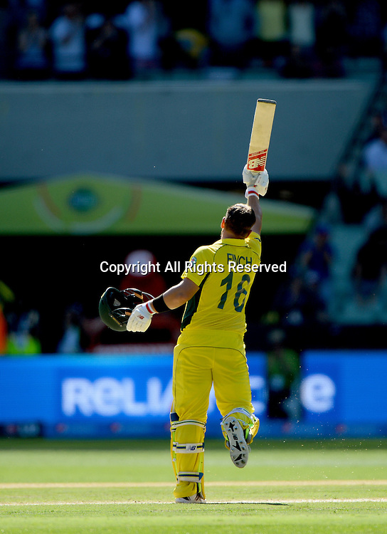 Aaron Finch (AUS) celebrates 100 / century<br /> Australia vs England / Match 2<br /> 2015 ICC Cricket World Cup / Pool A<br /> MCG / Melbourne Cricket Ground <br /> Melbourne Victoria Australia<br /> Saturday 14 February 2015<br /> &copy; Sport the library / Jeff Crow