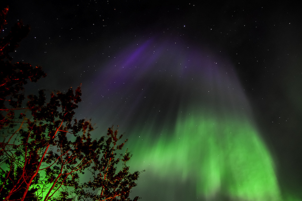 Colourful northern lights in August